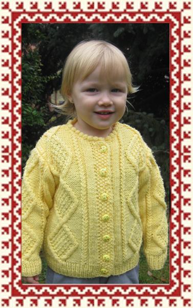 Kötött gyermekruha - Sárga mintás kötött gyermek kardigán b0c3d5cdd7